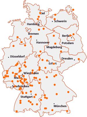 Orte mit Bi auf der Deutschlandkarte