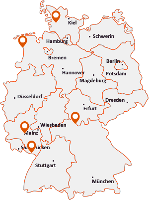 Orte mit Bun auf der Deutschlandkarte