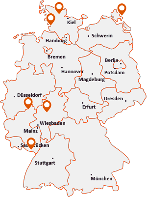 Orte mit Bus auf der Deutschlandkarte