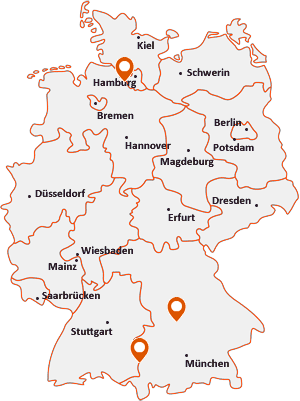 Orte mit Bux auf der Deutschlandkarte