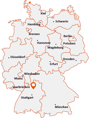 Orte mit Ellh auf der Deutschlandkarte