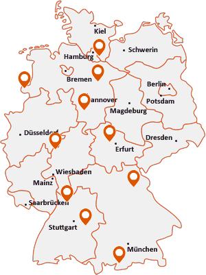 Orte mit Esche auf der Deutschlandkarte