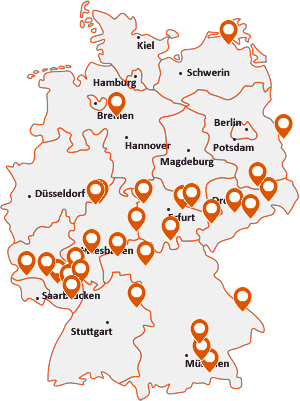 Orte mit Fra auf der Deutschlandkarte