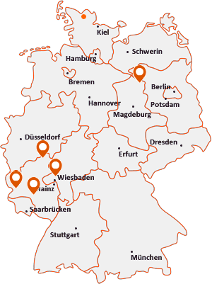 Orte mit Id auf der Deutschlandkarte