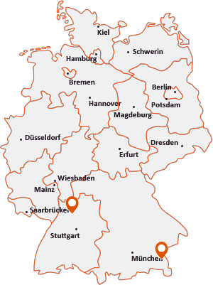 Orte mit Kircha auf der Deutschlandkarte