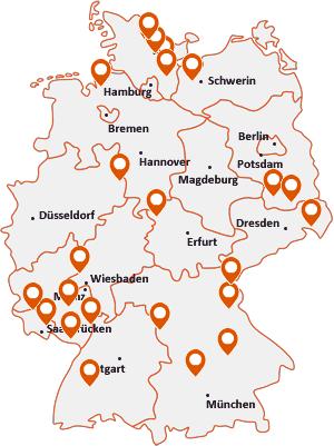 Orte mit Schi auf der Deutschlandkarte