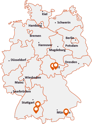 Orte mit Unterw auf der Deutschlandkarte