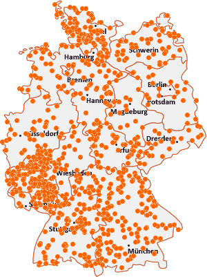 Orte mit W auf der Deutschlandkarte