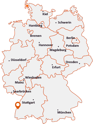 Orte mit Wy auf der Deutschlandkarte