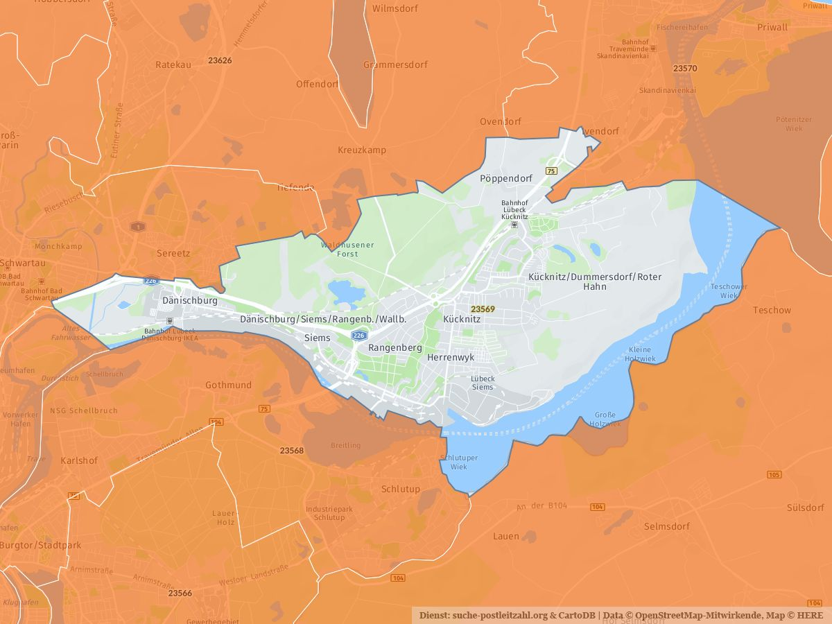Karte Lübeck.23569 Lübeck Mit Plz Karte Und Straßenverzeichnis
