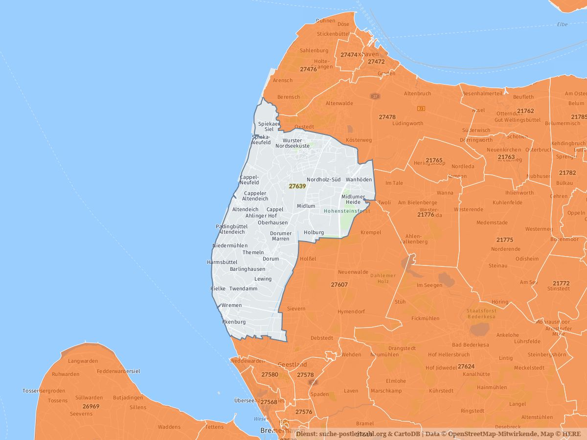 27639 Wurster Nordseekuste Mit Plz Karte Und Strassenverzeichnis