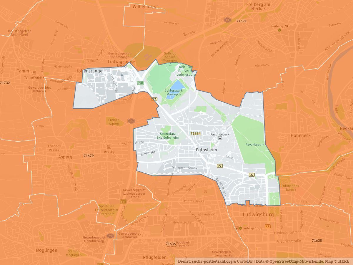 71634 Ludwigsburg Mit Plz Karte Und Strassenverzeichnis