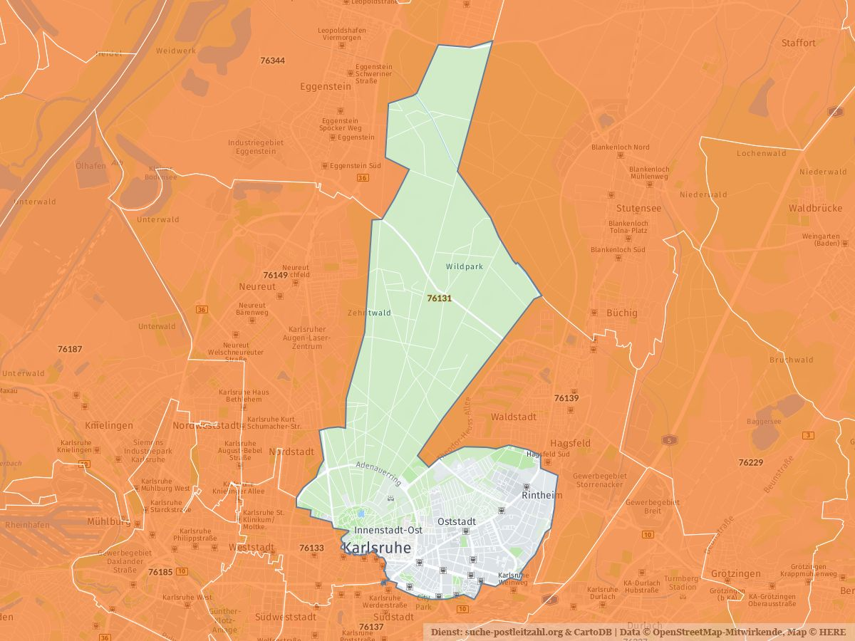 Karlsruhe Karte Umgebung.76131 Karlsruhe Mit Plz Karte Und Straßenverzeichnis