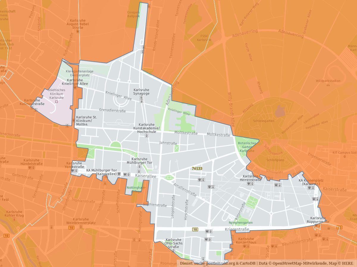 Karlsruhe Karte Umgebung.76133 Karlsruhe Mit Plz Karte Und Straßenverzeichnis