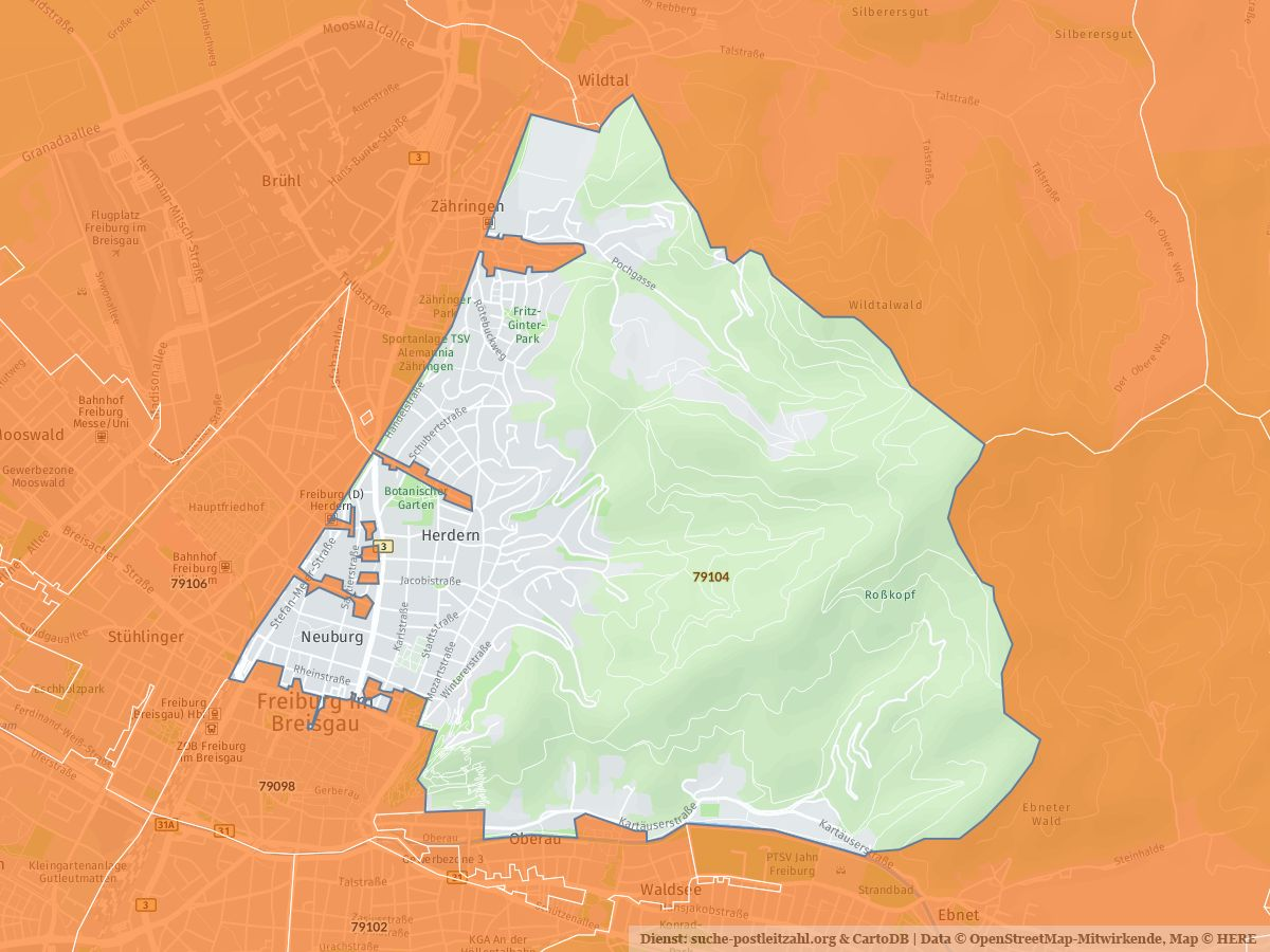Freiburg Karte.79104 Freiburg Im Breisgau Mit Plz Karte Und Strassenverzeichnis