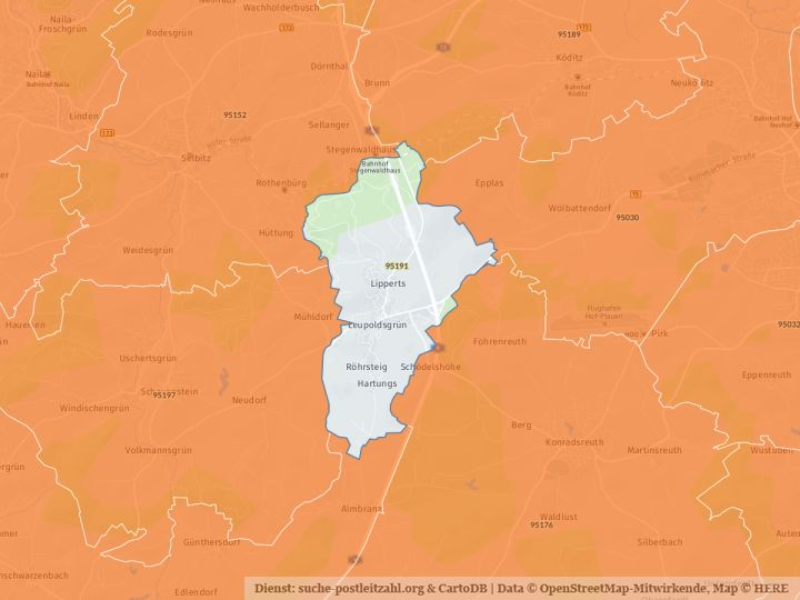 95191 Leupoldsgrün mit PLZ Karte und Straßenverzeichnis
