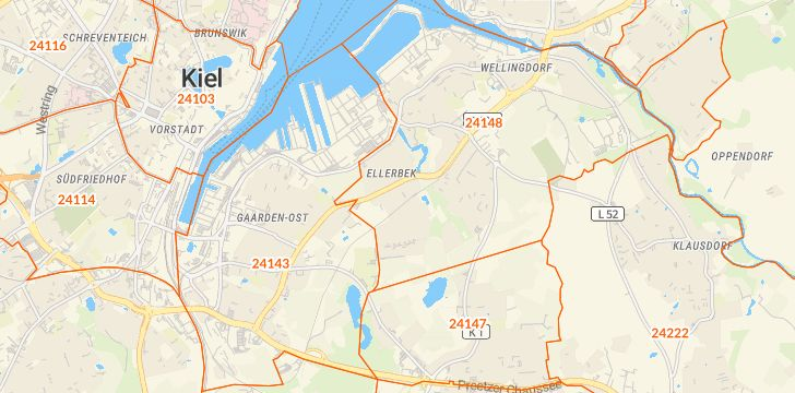 Straßenkarte mit Hausnummern Ellerbek