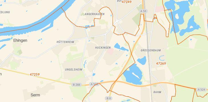 Straßenkarte mit Hausnummern Huckingen
