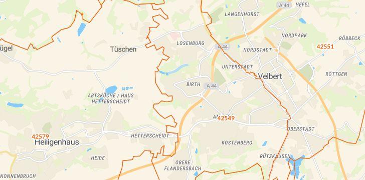 Straßenkarte mit Hausnummern Birth