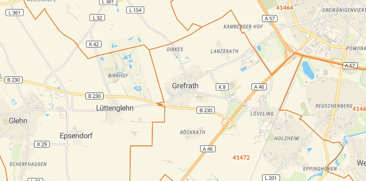 Straßenkarte mit Hausnummern Grefrath