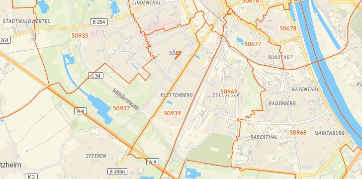 Straßenkarte mit Hausnummern Klettenberg