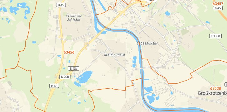 Straßenkarte mit Hausnummern Klein-Auheim