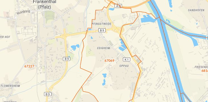 Straßenkarte mit Hausnummern Edigheim