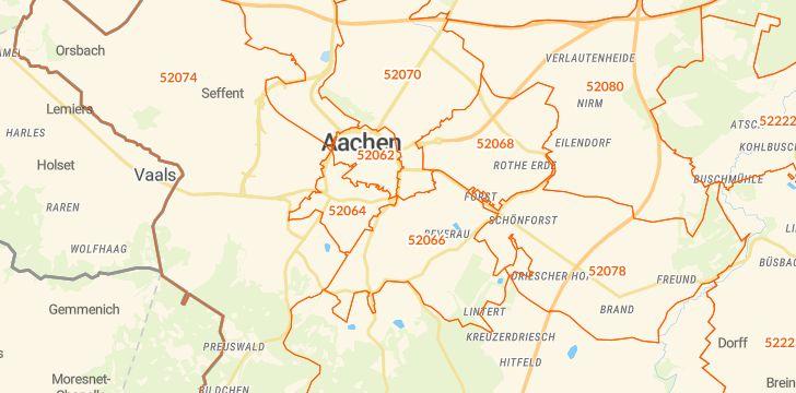 Straßenkarte mit Hausnummern Aachen