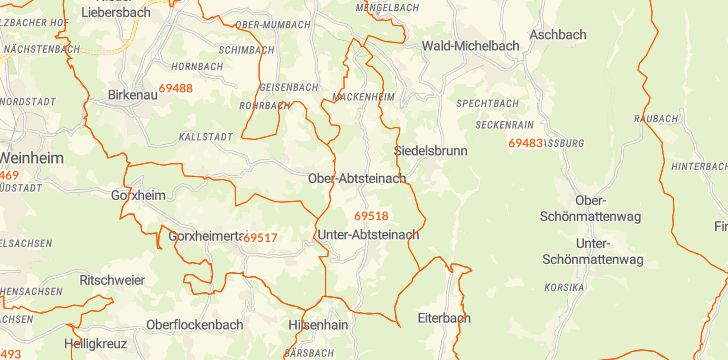Straßenkarte mit Hausnummern Abtsteinach