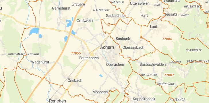 Straßenkarte mit Hausnummern Achern