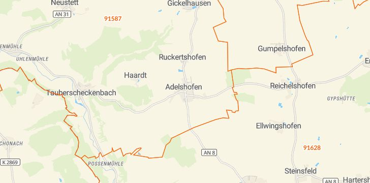 Straßenkarte mit Hausnummern Adelshofen (Mittelfranken)