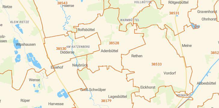 Straßenkarte mit Hausnummern Adenbüttel