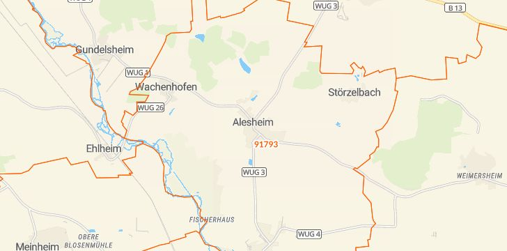 Straßenkarte mit Hausnummern Alesheim