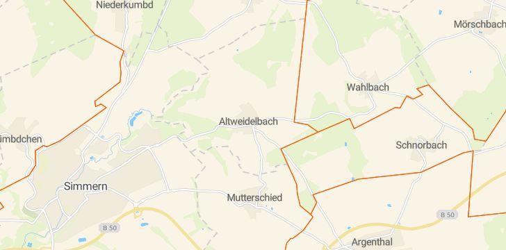 Straßenkarte mit Hausnummern Altweidelbach