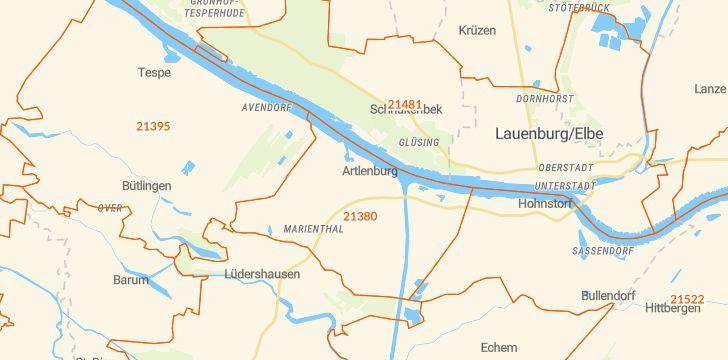 Straßenkarte mit Hausnummern Artlenburg