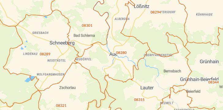 Straßenkarte mit Hausnummern Aue-Bad Schlema
