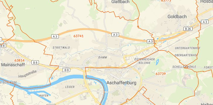 Straßenkarte mit Hausnummern Damm