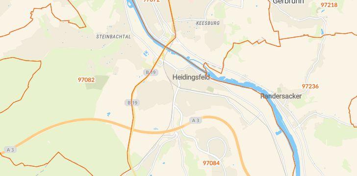 Straßenkarte mit Hausnummern Heidingsfeld