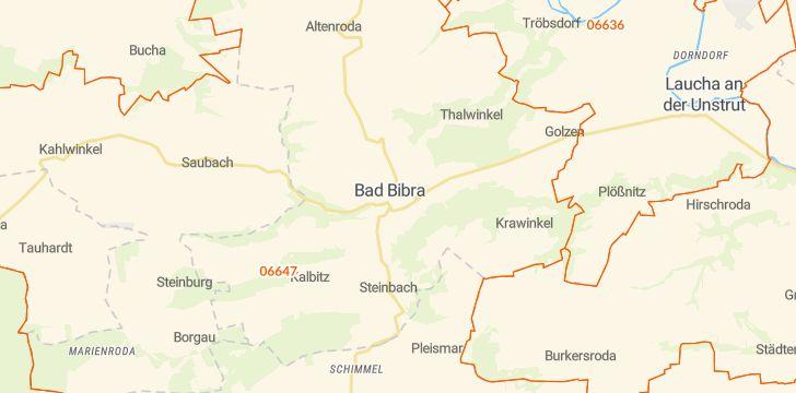 Straßenkarte mit Hausnummern Bad Bibra