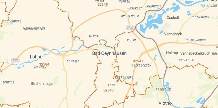 Straßenkarte mit Hausnummern Bad Oeynhausen