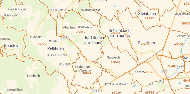 Straßenkarte mit Hausnummern Bad Soden am Taunus