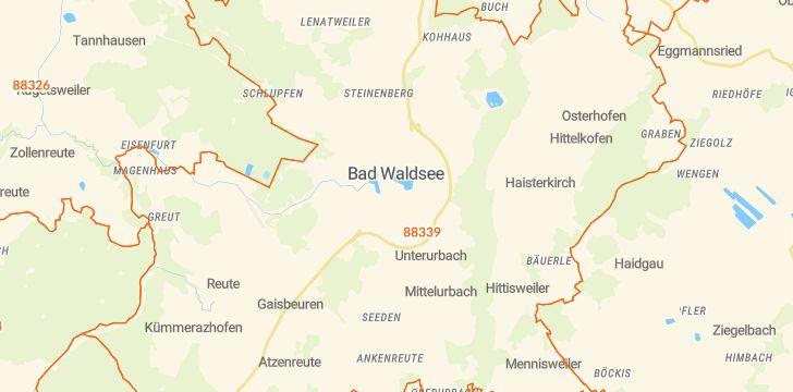 Straßenkarte mit Hausnummern Bad Waldsee