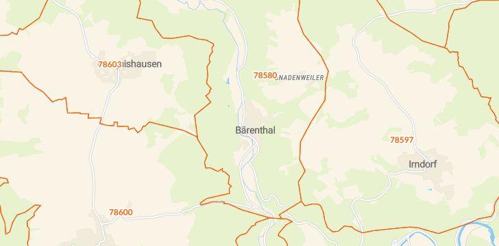 Straßenkarte mit Hausnummern Bärenthal