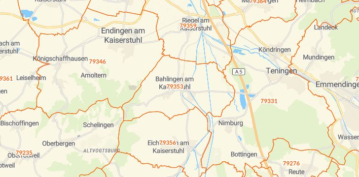 Straßenkarte mit Hausnummern Bahlingen am Kaiserstuhl