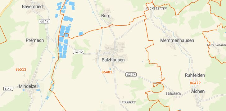 Straßenkarte mit Hausnummern Balzhausen