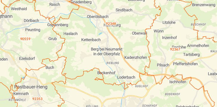 Straßenkarte mit Hausnummern Berg bei Neumarkt in der Oberpfalz