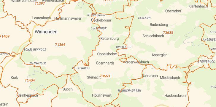 Straßenkarte mit Hausnummern Berglen