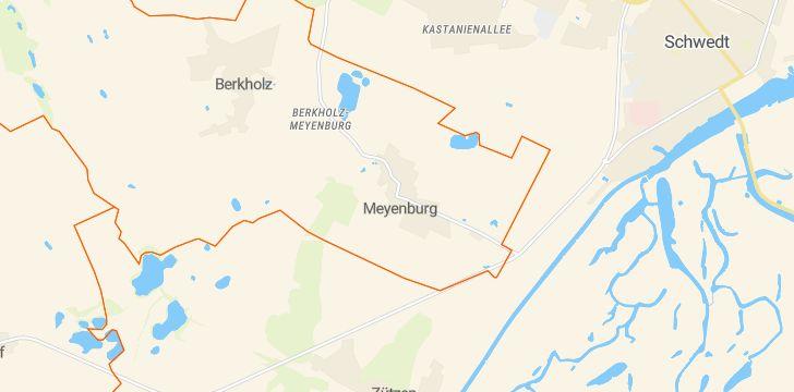 Straßenkarte mit Hausnummern Berkholz-Meyenburg