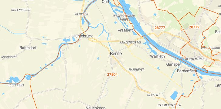 Straßenkarte mit Hausnummern Berne