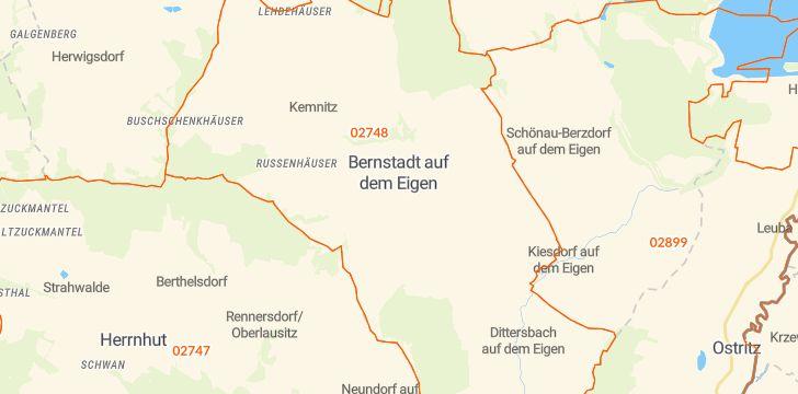 Straßenkarte mit Hausnummern Bernstadt auf dem Eigen